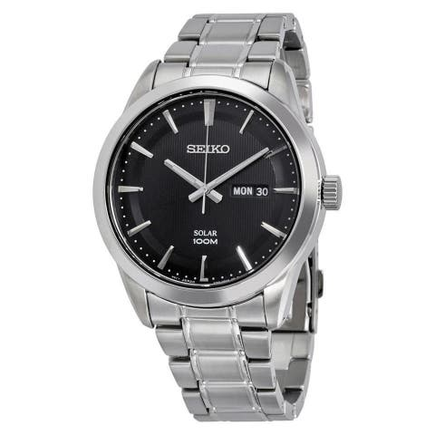 Seiko Men's SNE363 'Solar' Black Leather Watch