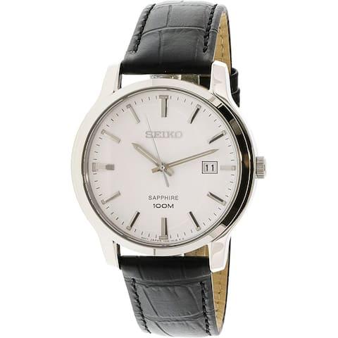 Seiko Men's SGEH43 Black Leather Watch