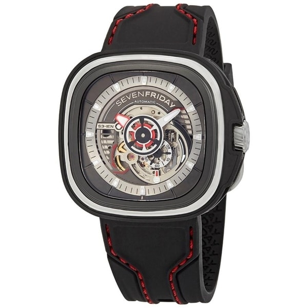 SevenFriday Men's S3-01 'S-Series' Black Silicone Watch. Opens flyout.