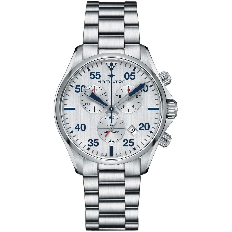 6297ad283 Hamilton Men's H76712151 'Khaki Pilot' Chronograph Stainless Steel Watch