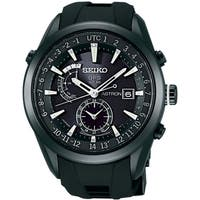 Seiko Men's SAST011 'Astron GPS Solar' World Time Black Silicone Watch