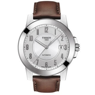 Tissot Men's T098.407.16.032.00 'Gentleman' Silver Brown Leather Strap Swiss Automatic Watch