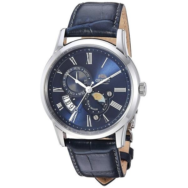 Fak00005d0 Leather 'sun And Moon' Blue Orient Men's Moonphase Automatic Watch eCxrdBoQW
