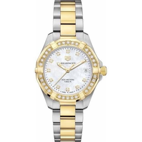 Tag Heuer Women's WBD1323.BB0320 'Aquaracer' Diamond Two-Tone Stainless Steel with 18kt Yellow Gold-plated Watch