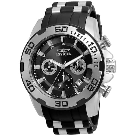 Invicta Men's 22311 'Pro Diver' Scuba Black and Silver Polyurethane and Stainless Steel Watch