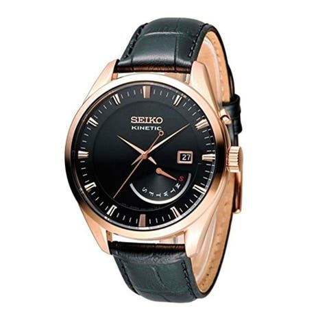 Seiko Men's SRN078 'Kinetic' Black Leather Watch