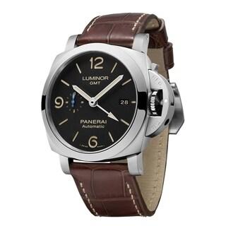 Panerai Men's PAM01320 'Luminor' GMT Automatic Brown Leather Watch