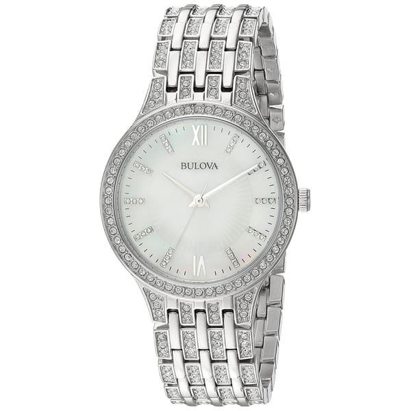 96a110470 Bulova Women's 96L242 Swarovski Crystal Accented Bracelet Watch - Silver- Tone. Image Gallery