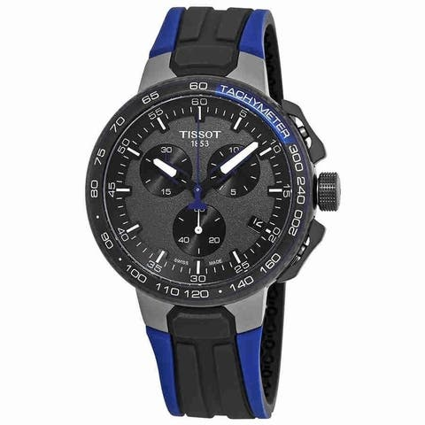 Tissot Men's T1114173744106 'T-Race Cycling' Chronograph Blue and Black Rubber Watch