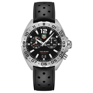 Link to Tag Heuer Men's WAZ111A.FT8023 'Formula 1' Chronograph Black Rubber Watch Similar Items in Men's Watches