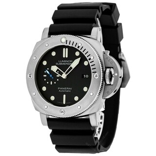 Panerai Men's PAM01305 'Luminor Submersible 1950' Automatic Black Rubber Watch