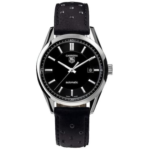 Tag Heuer Men's WV211A.FC6182 'Carrera' Automatic Black Leather Watch