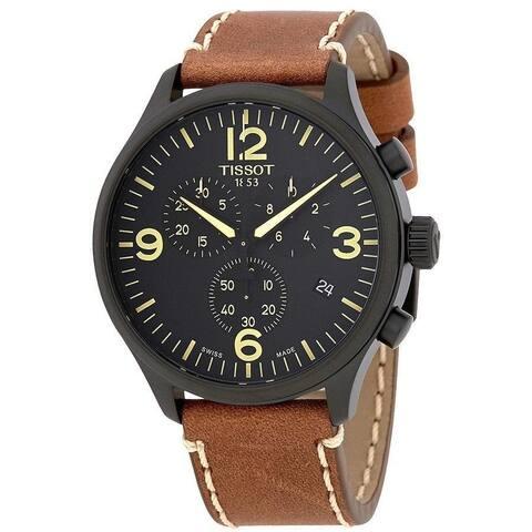 Tissot Men's T1166173605700 'T-Sport XL' Chronograph Brown Leather Watch
