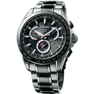 Seiko Men's SSE041 'Astron GPS Solar' Chronograph World Time Two-Tone Titanium and Ceramic Watch