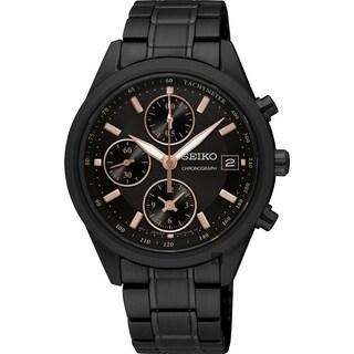 Seiko Women's SNDV57 Chronograph Black Stainless Steel Watch