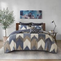 INK+IVY Alpine Navy 3 Piece Printed Cotton Coverlet Set