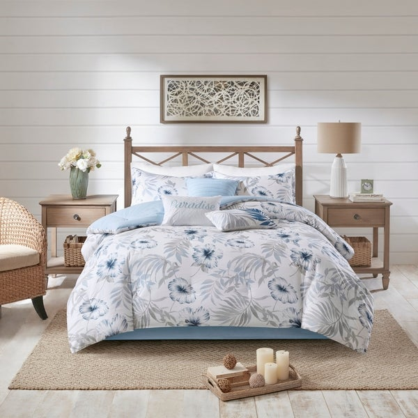 Madison Park Amalia Blue/ White 7 Piece Cotton Printed Comforter Set