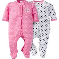 Gerber Zip Front Sleep 'n Play Elephants/Flowers - 2 Pack - 0-3 Months