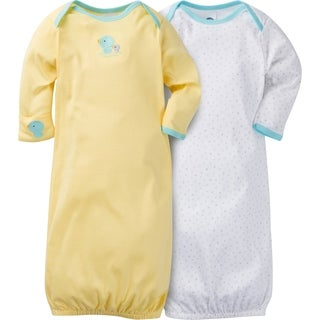 Gerber Neutral 2 Pack Gown with Mitten Cuffs New Ducks - 0-6 Months