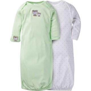 Gerber Neutral 2 Pack Gown with Mitten Cuffs Teddy Bears - 0-6 Months