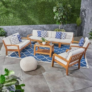 Grenada Outdoor Acacia Wood Sectional Sofa Set with Cushions by Christopher Knight Home