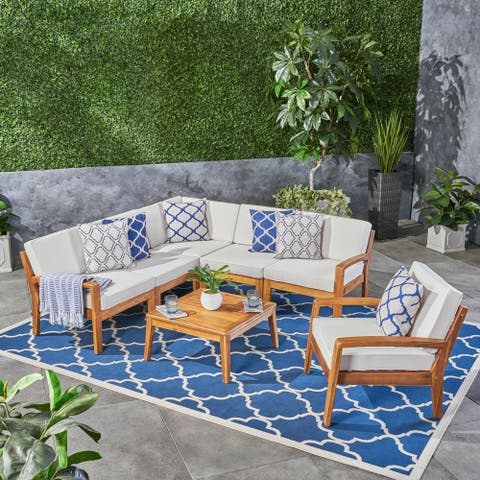 Grenada Outdoor Acacia Wood 6 Seater Sectional Sofa and Club Chair Set with Coffee Table by Christopher Knight Home