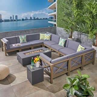 Brava Outdoor 12-Piece Acacia Wood Sectional Sofa Set with Fire Pit by Christopher Knight Home