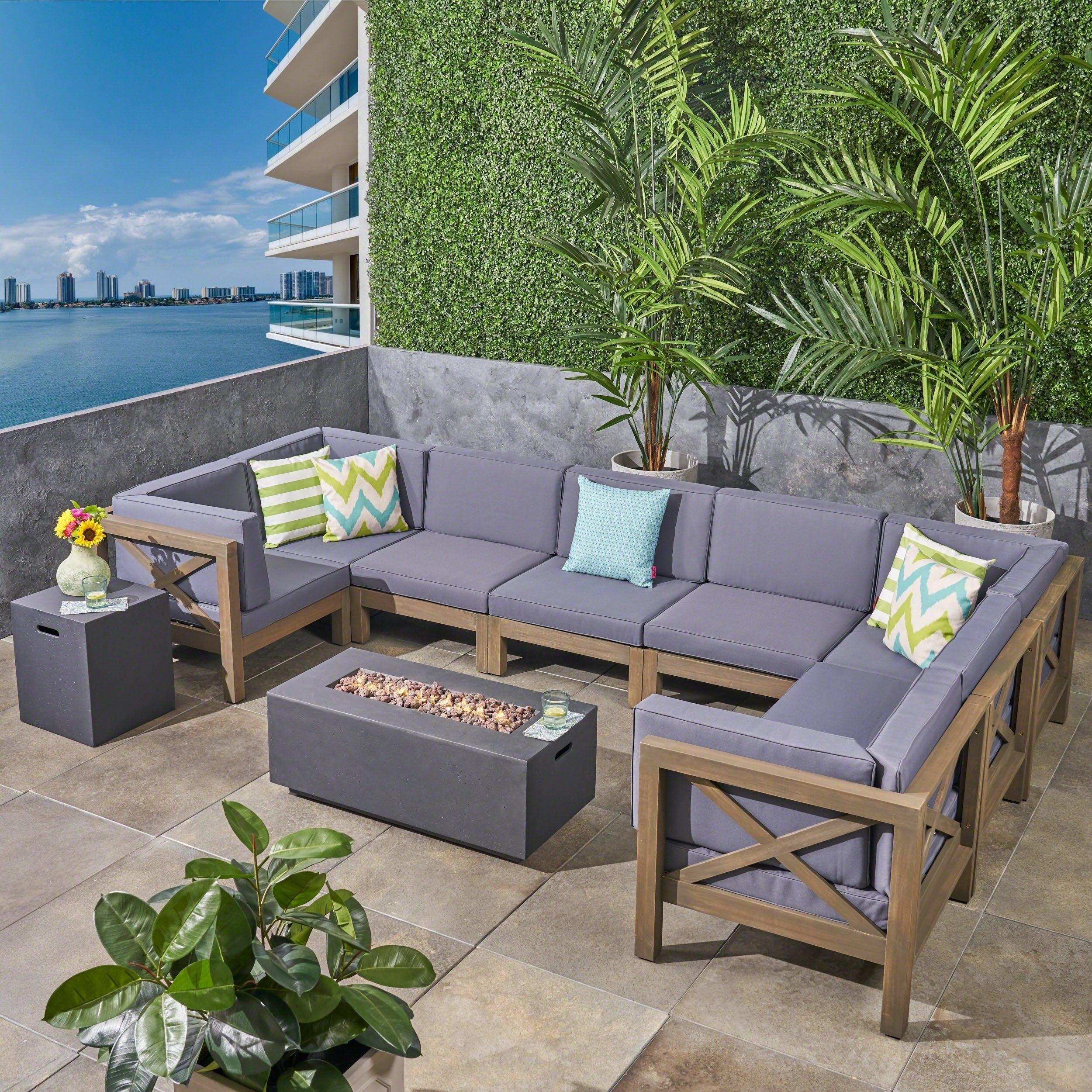 Brava Outdoor 10 Piece Acacia Wood Sectional Sofa Set With Fire Pit