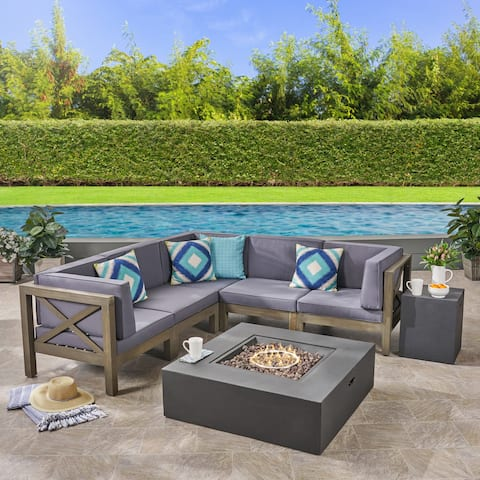 Brava Outdoor 7-Piece Acacia Wood Sectional Sofa Set with Fire Pit by Christopher Knight Home