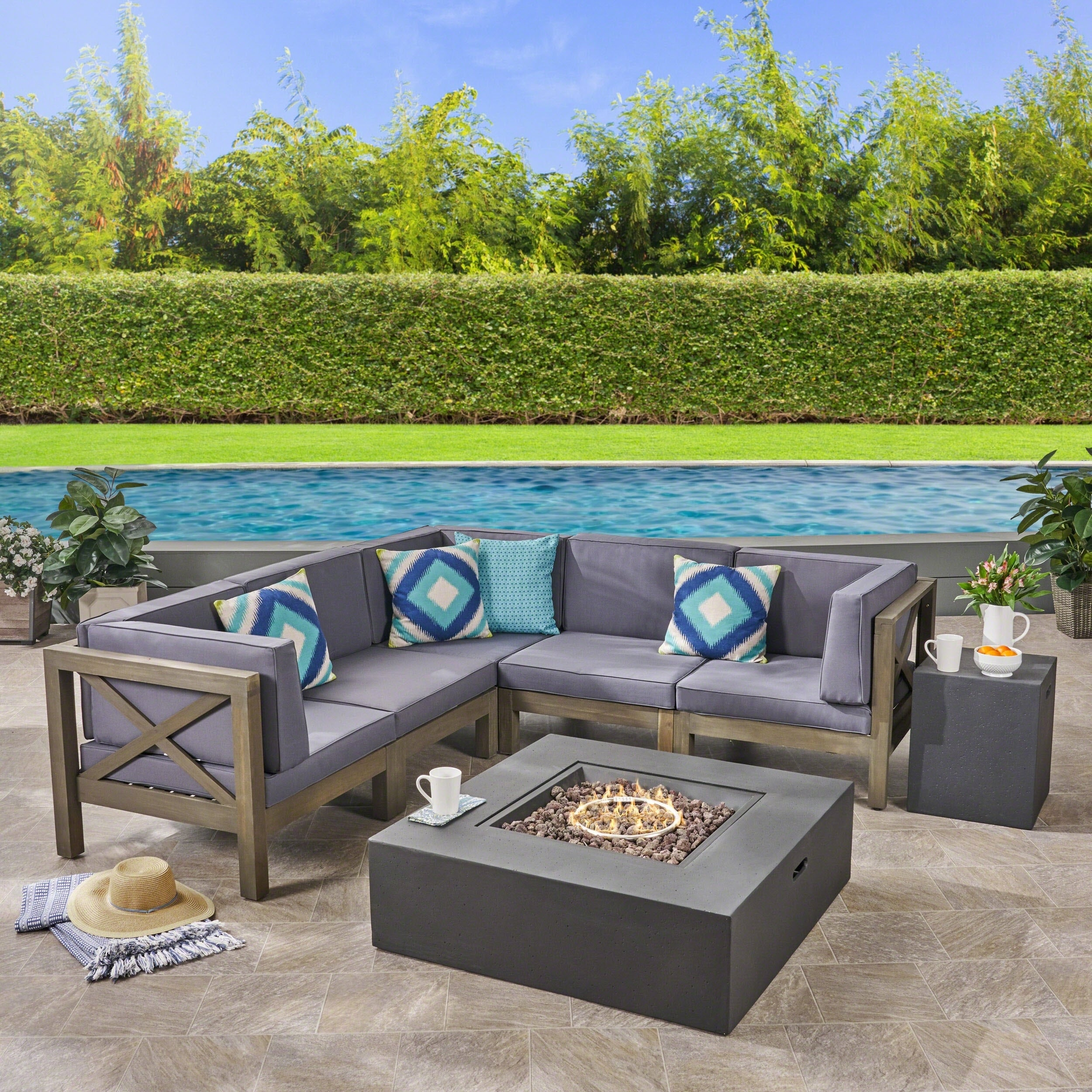 Brava Outdoor 7 Piece Acacia Wood Sectional Sofa Set With Fire Pit By  Christopher Knight