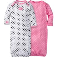 Gerber Girl 2 Pack Gown with Mitten Cuffs Elephant - 0-6 Months