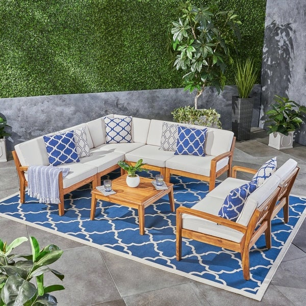 Shop Grenada Outdoor Acacia Wood 7 Seater Sectional Sofa ... on Patio Loveseat Set id=22491