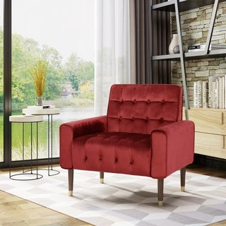 Bourchier Button-Tufted Waffle Stitching Velvet Armchair by Christopher Knight Home