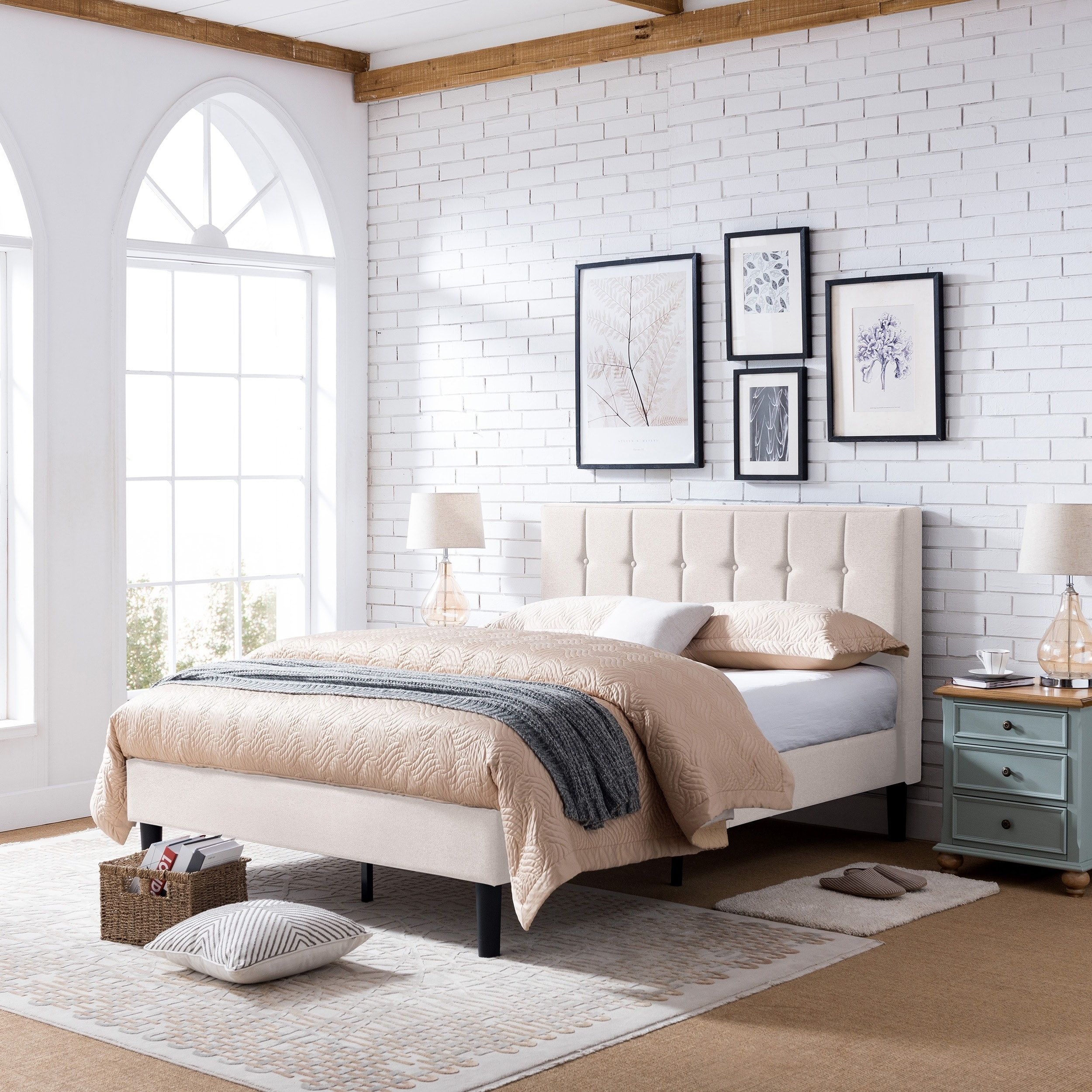 Heinze Contemporary Fully Upholstered Low Profile Queen Size Platform Bed Frame By Christopher Knight Home