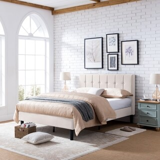 Heinze Contemporary Fully-Upholstered Low-Profile Queen-Size Platform Bed Frame by Christopher Knight Home