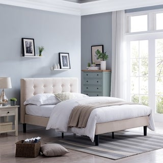 Agnew Contemporary Fully-Upholstered Low-Profile Queen-Size Platform Bed Frame by Christopher Knight Home