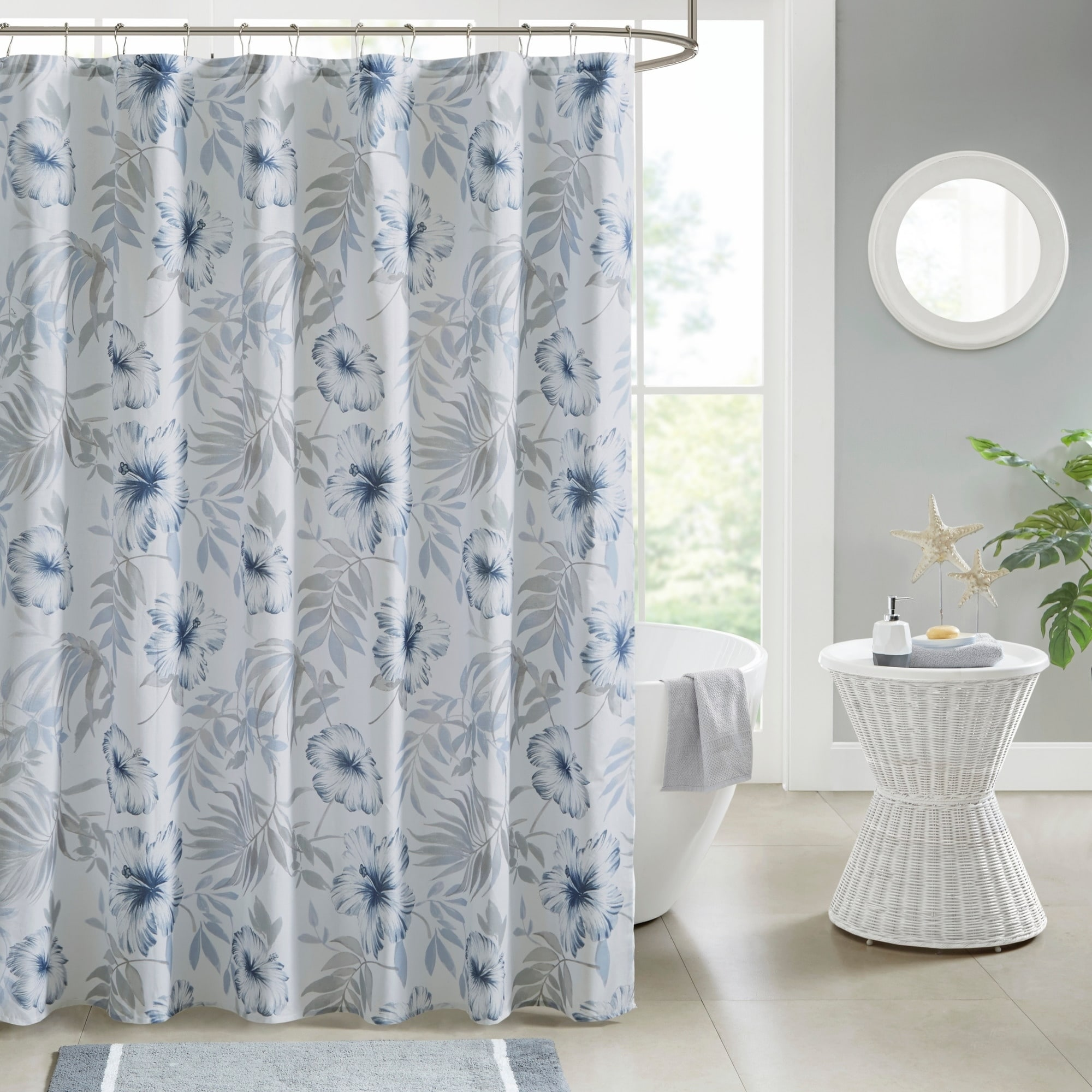 Madison Park Amalia Blue White Printed Cotton Shower Curtain