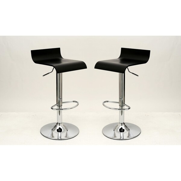 HomeRoots Furniture Practical Ludlow Barstool With Height Adjustability In  Black   Set Of 2