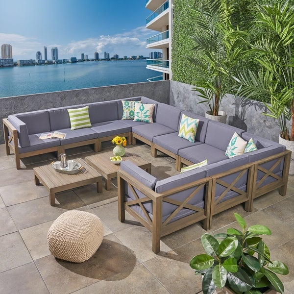 Shop Brava Outdoor 12 Piece Acacia Wood Sectional Sofa Set