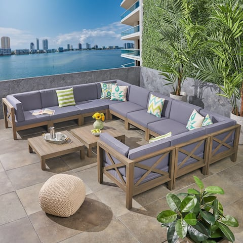 Brava Outdoor 12-Piece Acacia Wood Sectional Sofa Set with Coffee Tables by Christopher Knight Home