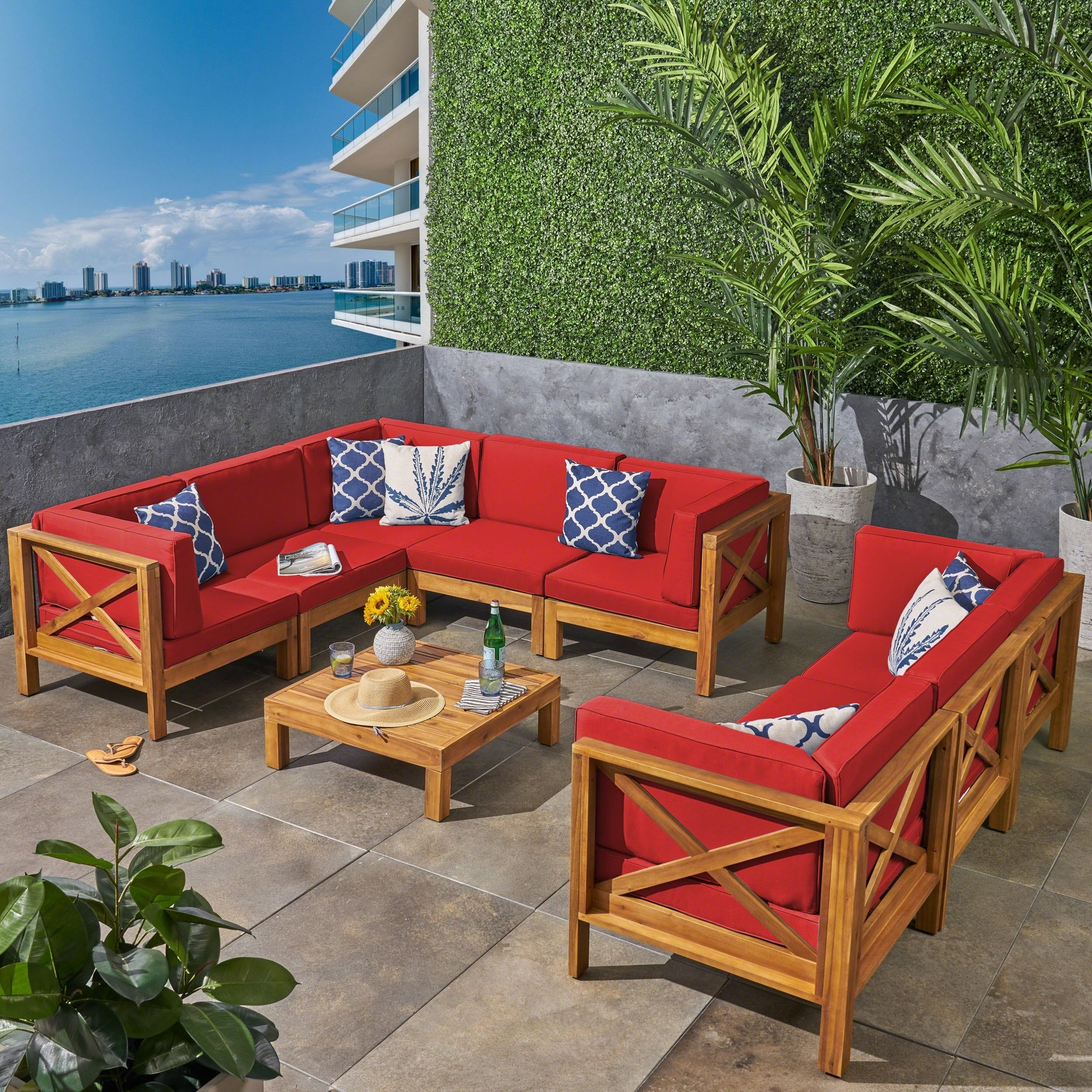 Brava Outdoor 9 Piece Acacia Wood Sectional Sofa Set With Coffee Table By