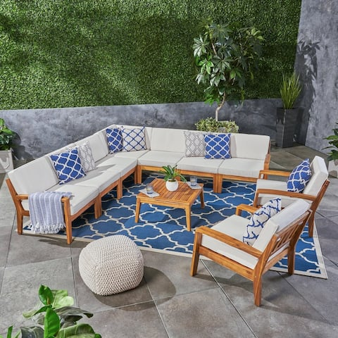 Grenada Outdoor Acacia Wood 9 Seater Sectional Sofa and Club Chair Set with Coffee Table by Christopher Knight Home