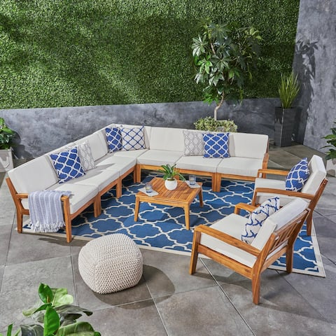 Grenada Outdoor Acacia Wood Sectional Sofa Set by Christopher Knight Home