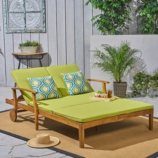 Perla Outdoor Acacia Wood Double Chaise Lounge by Christopher Knight Home