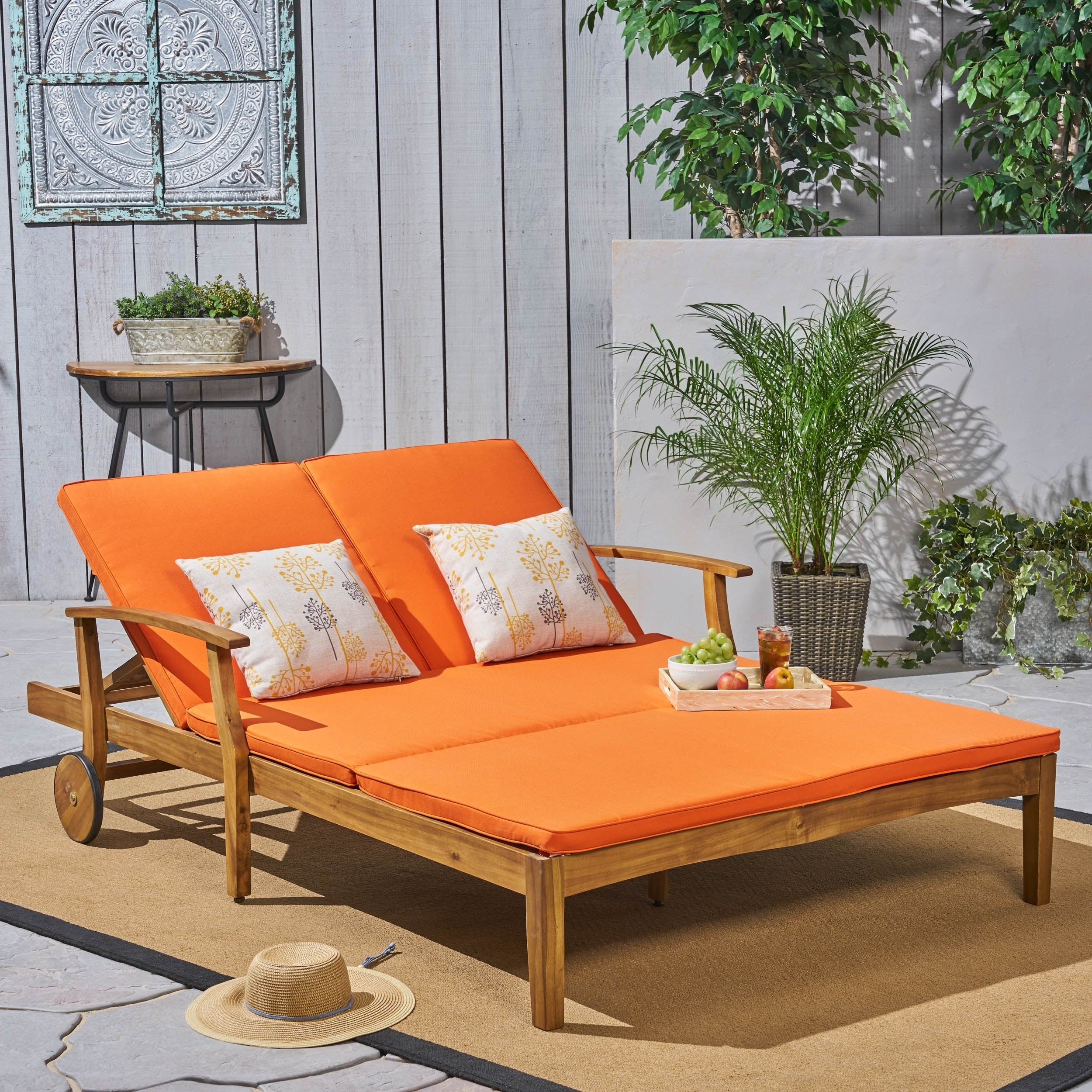 - Shop Perla Outdoor Acacia Wood Double Chaise Lounge By Christopher Knight  Home - On Sale - Overstock - 24196726 - Teak Finish + Orange