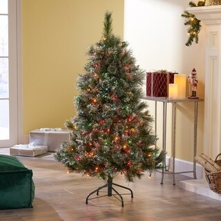 4.5-foot Cashmere Pine and Mixed Spruce Pre-Lit LED or Unlit Artificial Christmas Tree by Christopher Knight Home