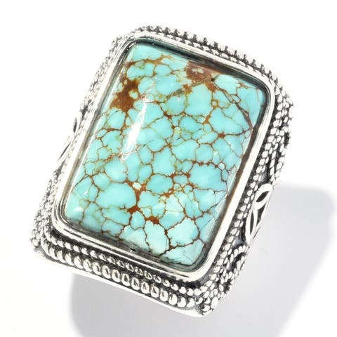 Pinctore Sterling Silver 19 x 14mm #8 Turquoise Textured Ring