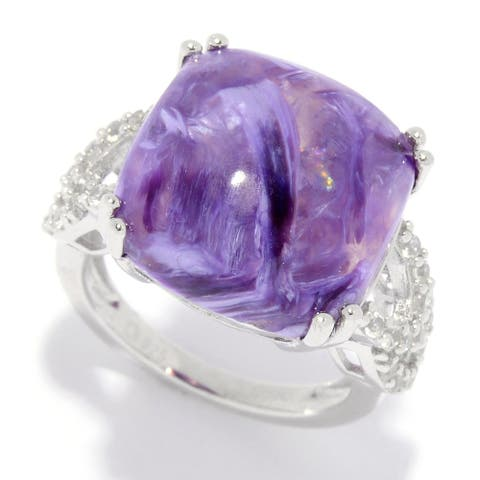Sterling Silver 15mm Cushion Shaped Charoite & White Zircon Ring