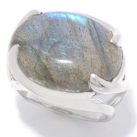 Sterling Silver 20 x 14mm Oval Labradorite East-West Ring