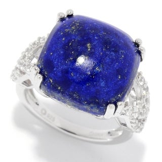 Pinctore Sterling Silver 15mm Cushion Shaped Lapis & White Zircon Ring